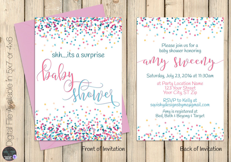 Surprise Baby Shower Invitation, Confetti Baby Shower Party Invite ...