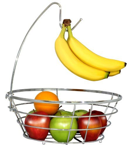 DecoBros Wire Fruit Tree Bowl with Banana Hanger, Chrome Finish by Deco Brothers