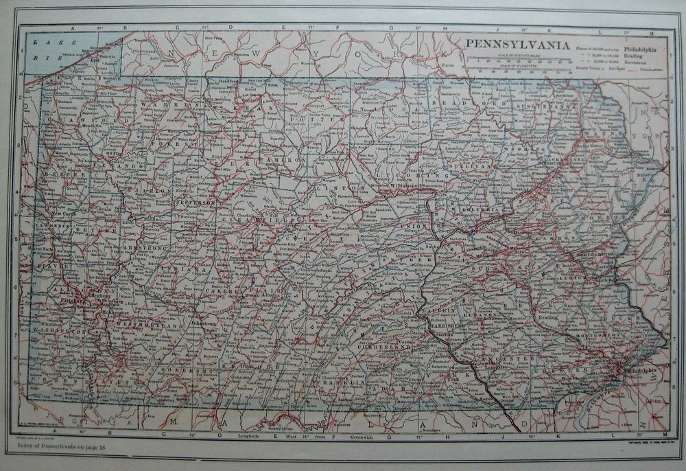 1912 Antique PENNSYLVANIA Map Neat VINTAGE State