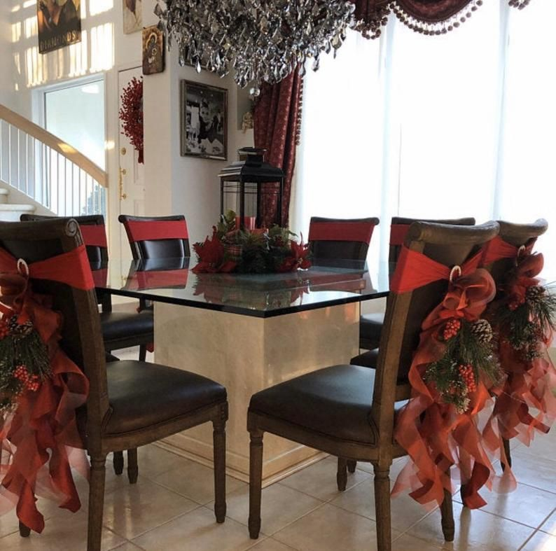 Christmas Chair Sashes Burgundy Sets Of Either 2 4 5 6 8 Or 10 Chair Sashes Includes With Images Christmas Chair Christmas Chair Covers Chair Sashes
