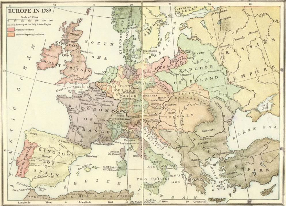 Map of Europe in 1789 Map of