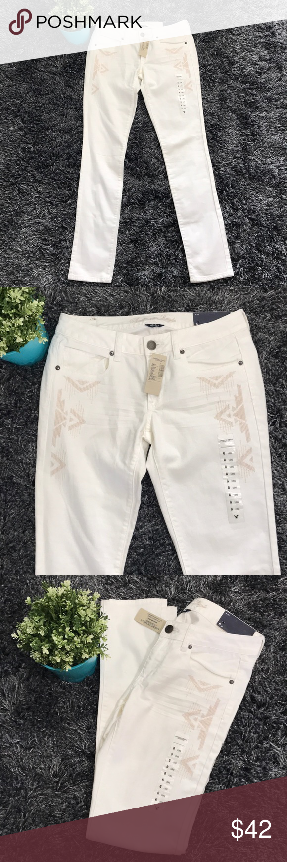 87095ee918cd51 American eagle skinny long pants NWT skinny long stretch pants, color is  more like in shell white. Gorgeous embroidery design in pockets. 😍 Inseam  approx.