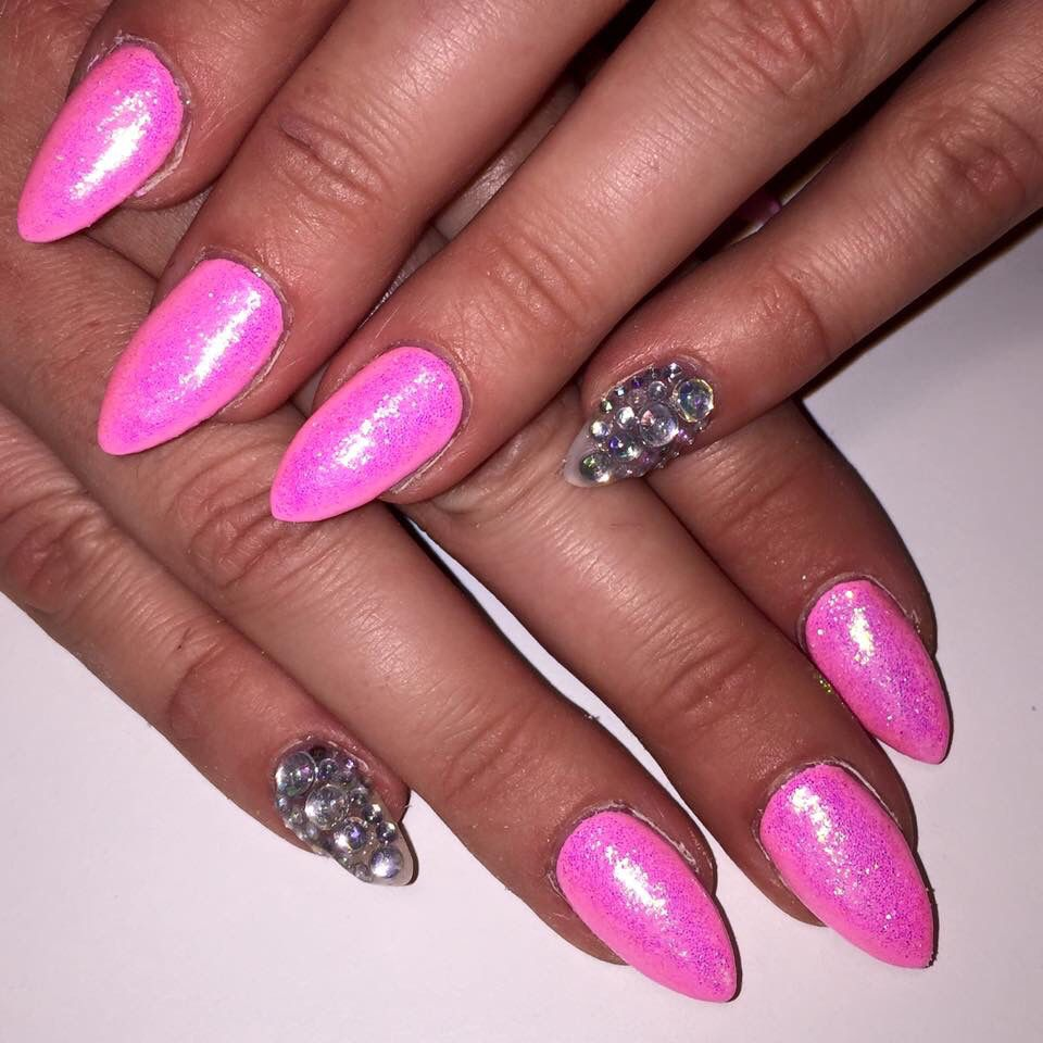 Cerise pink stiletto nails with Mermaid powder and one diamond ...
