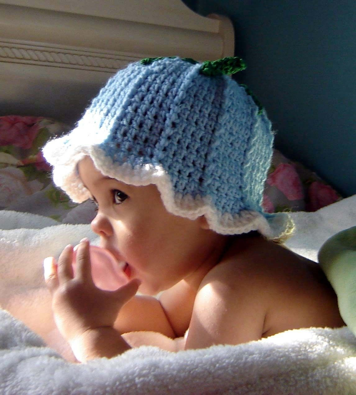 Pdf Instant Download Crochet Pattern No 036 Blue Bell Hat Loomed