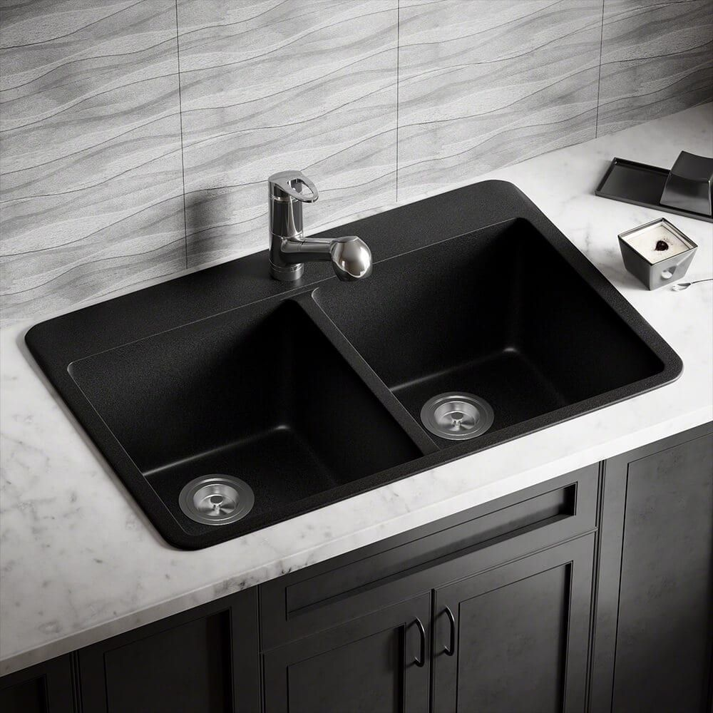 mr direct t802 black trugranite double equal bowl top mount sink rh pinterest co uk