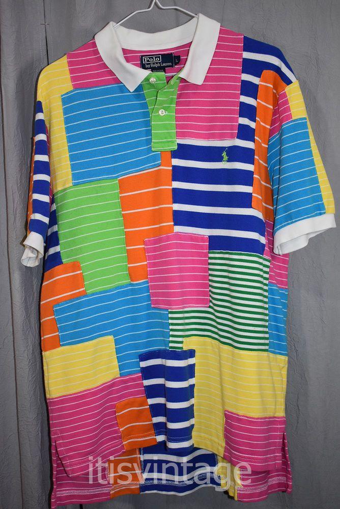 bf79f3050 POLO RALPH LAUREN VINTAGE Men s L S Rugby Shirt Size L Pink Stripe Multi  Color