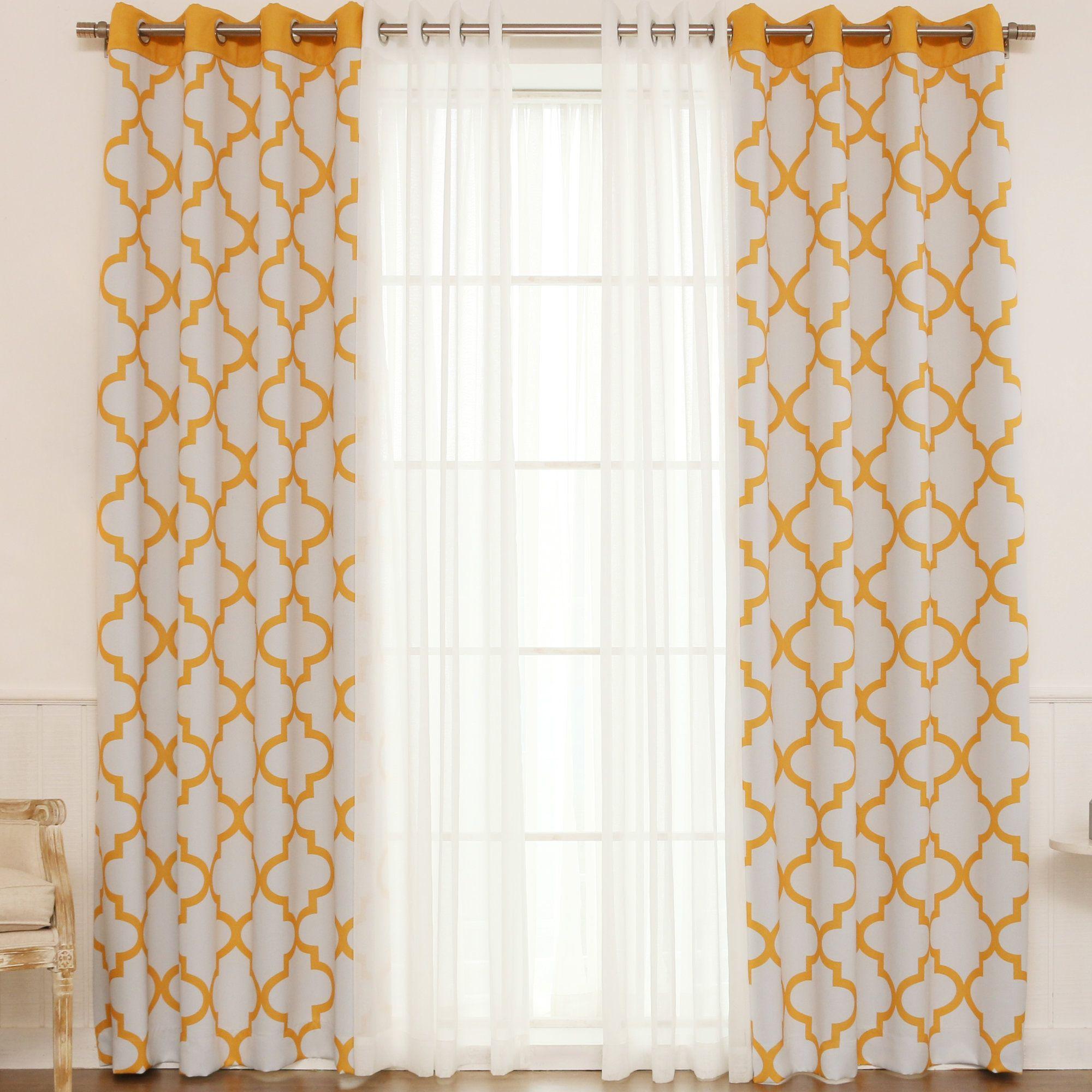 Josh Geometric Semi-Sheer Thermal Grommet Single Curtain Panel