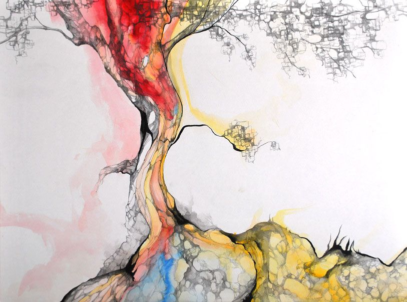 India Ink And Watercolor Abstract Tree Painting Painting Tree