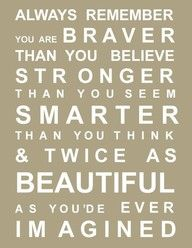 """""""Always remember you are BRAVER than you believe STRONGER than you seem SMARTER than you think & twice as BEAUTIFUL as you'de ever IMAGINED"""""""