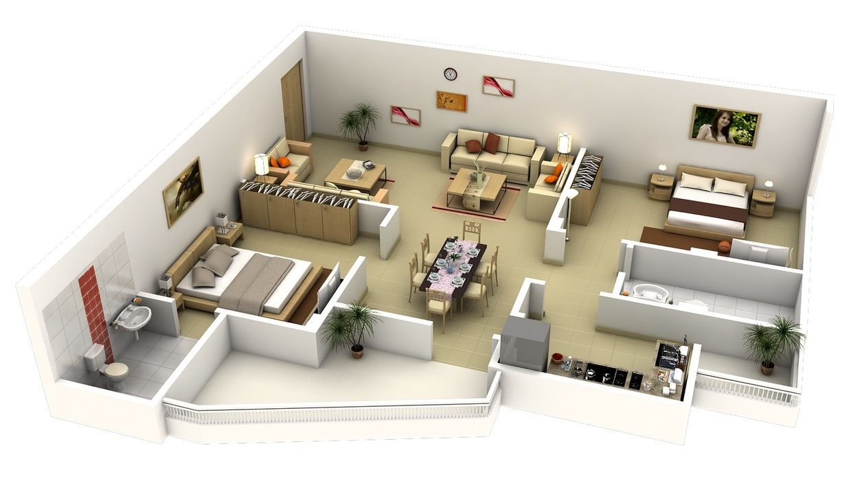 Free 3d Floor Plan Free Lay Out Design For Your House Or Apartment Get Inspira In 2020 Apartment Floor Plans 2 Bedroom House Plans 2 Bedroom Apartment Floor Plan
