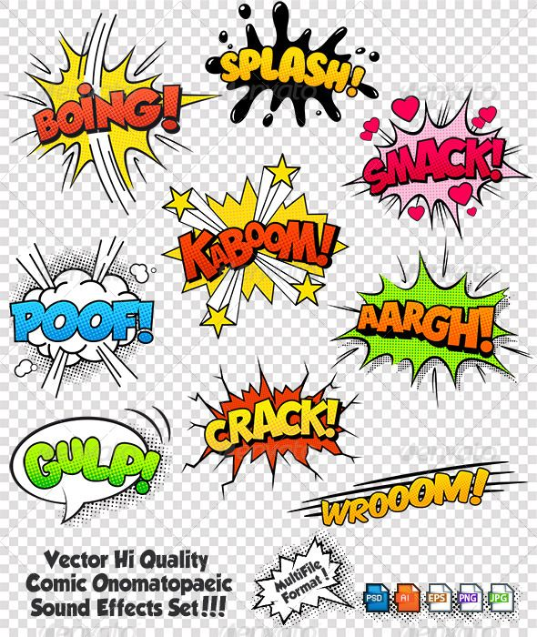 Comic Sound Effects Set 2 - Vectors | Comic Text in 2019