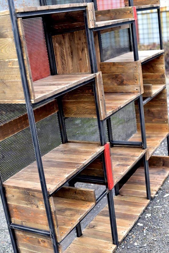 industrial pallets and steel shelves home office design for men rh pinterest com
