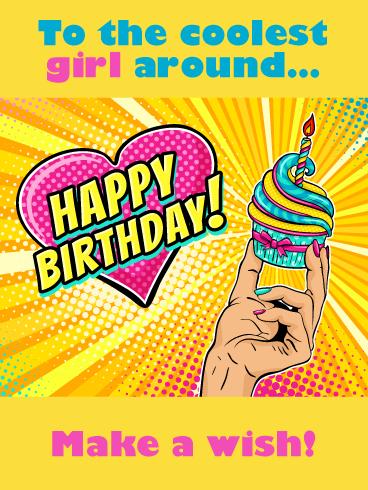 Make A Wish Comic Cupcake Happy Birthday Card For Girls Birthday Greeting Cards By Davia Happy Birthday Text Pop Art Background Happy Birthday Cards