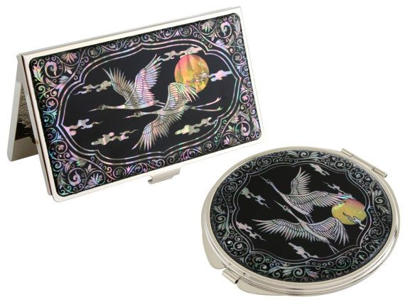 Nacre Mother Of Pearl Business Card Holder Compact Mirror Gift Sets Case Makeup Cosmatic Set Crane Cloud Design