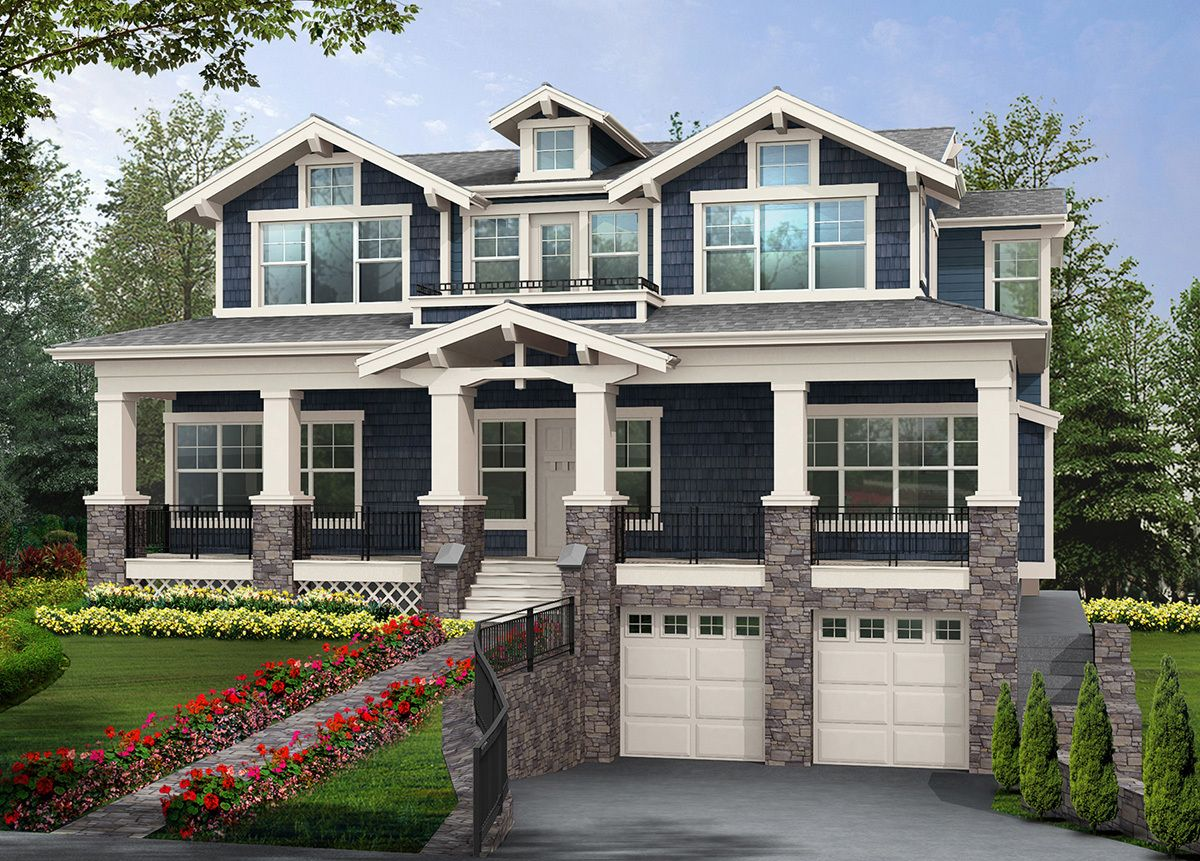 Plan 23160JD Perfect Home for Sloped View
