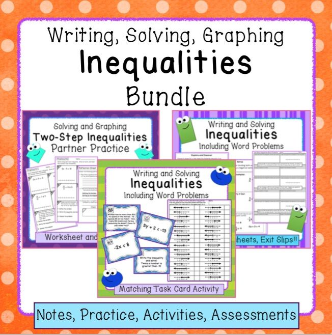 Inequalities Bundle Writing Solving And Graphing Math