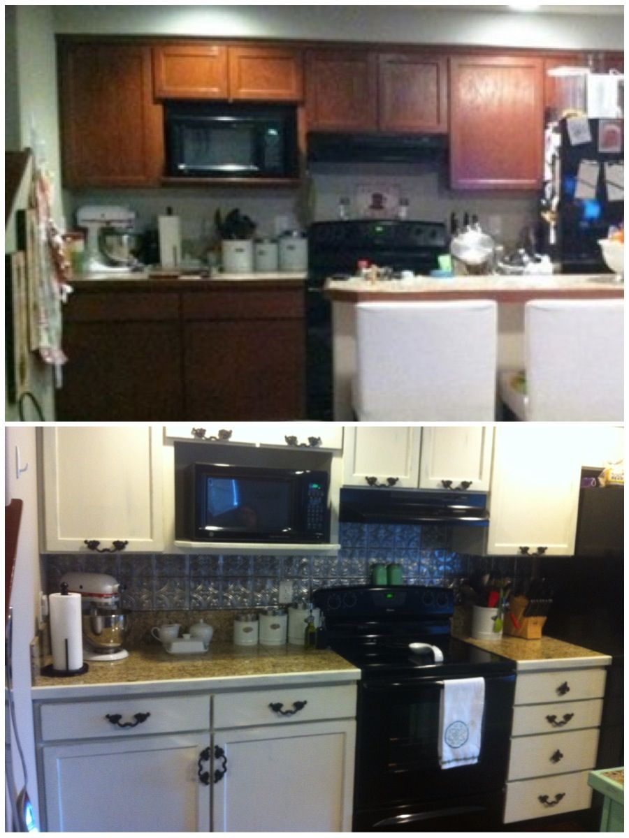 kitchen redo painted and distressed cabinets added hardware to rh pinterest com