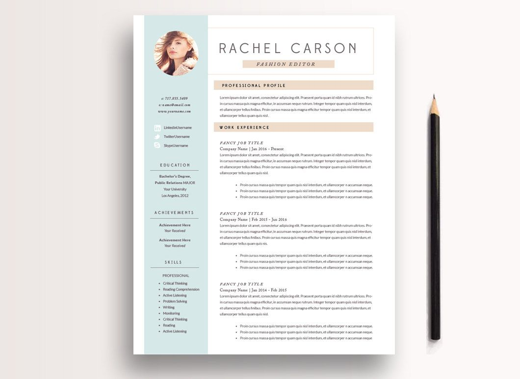 Creative And Modern Resume Template  Page  Cv Template  Cover