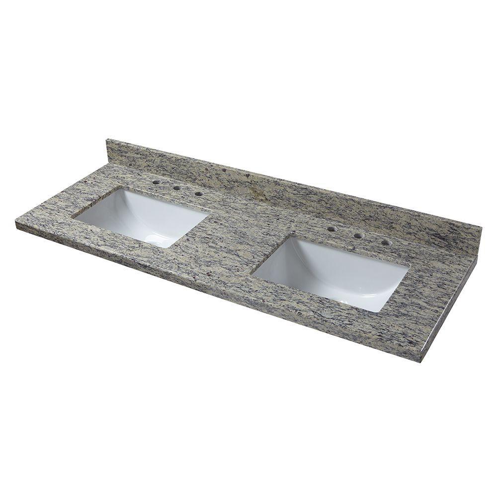 Home Decorators Collection 61 In W Granite Double Sink Vanity Top