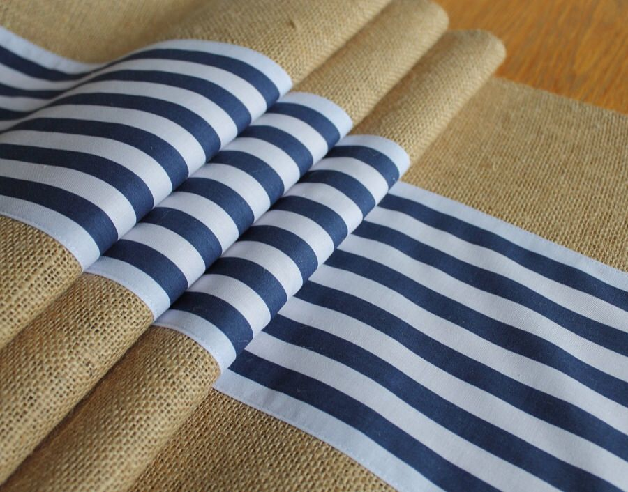 Burlap And Mid Navy Stripe Table Runners, Rustic Weddings, Nautical Home  Decor, Kitchen And Dining