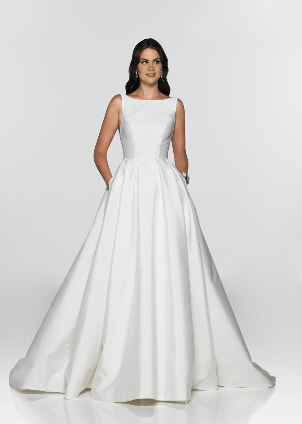 Zibeline boatneck gown with full pleated skirt and pockets ...