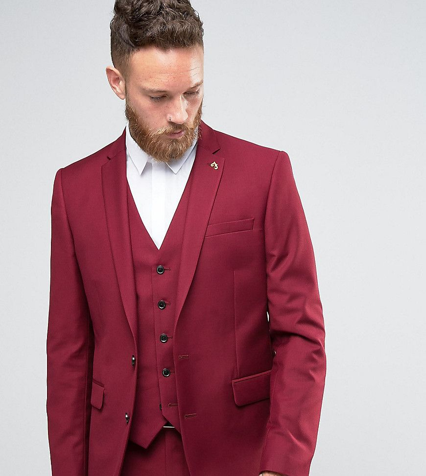 Farah Skinny Suit Jacket In Burgundy - Red | Products | Pinterest ...