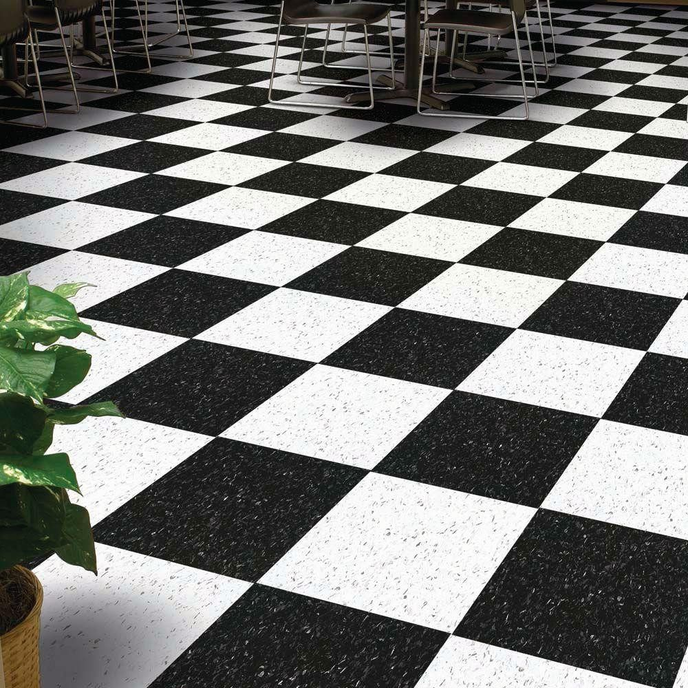 Armstrong 51910 Classic Black Is A Vct Tile In Standard Excelon Imperial Texture Collection Size 12 X 12 X 1 8 Vct Tile Vct Flooring Black And White Tiles