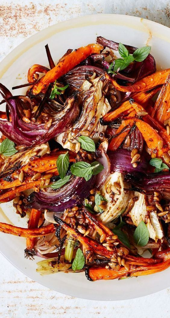Roasted Carrots and Red Onions with Fennel and Mint Recipe