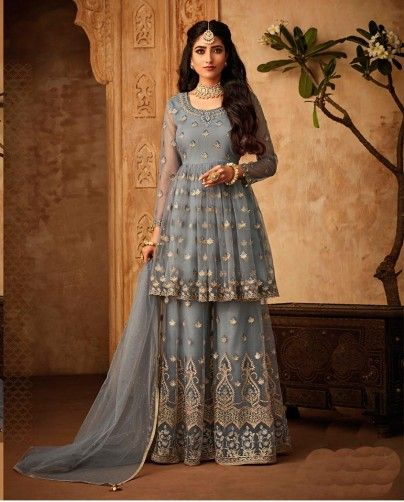 Light Blue Embroidered Sharara Suit
