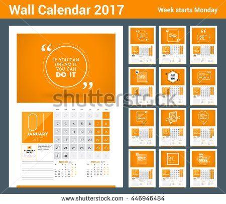 Wall Calendar Planner Print Template For 2017 Year Calendar Poster