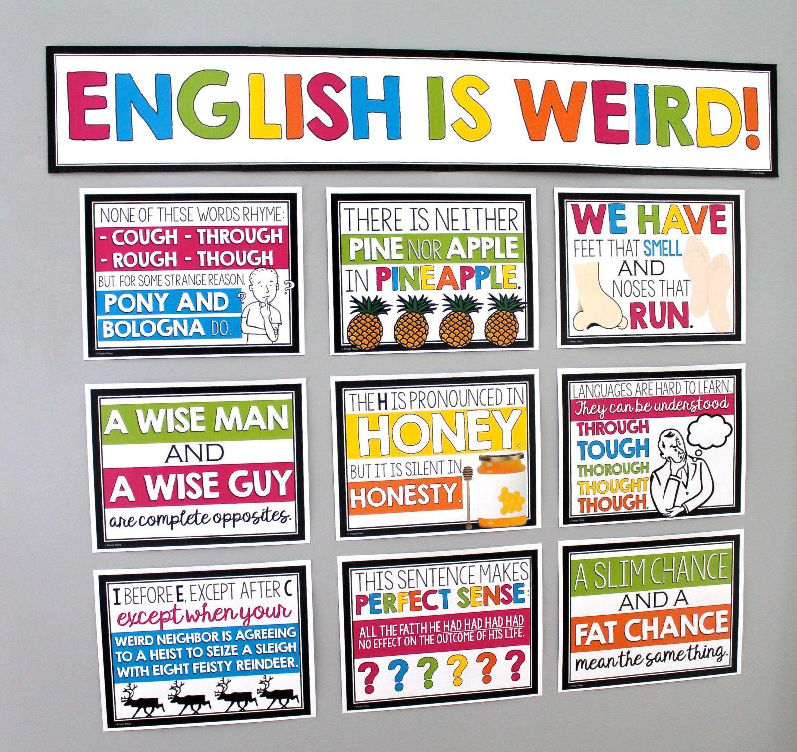 English Classroom Posters Bulletin Board English Classroom