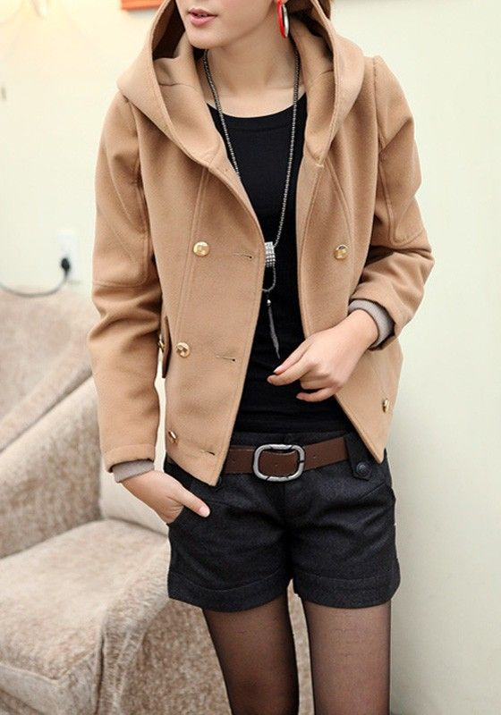 Camel Plain Pockets Double Breasted Hooded Fashion Coat