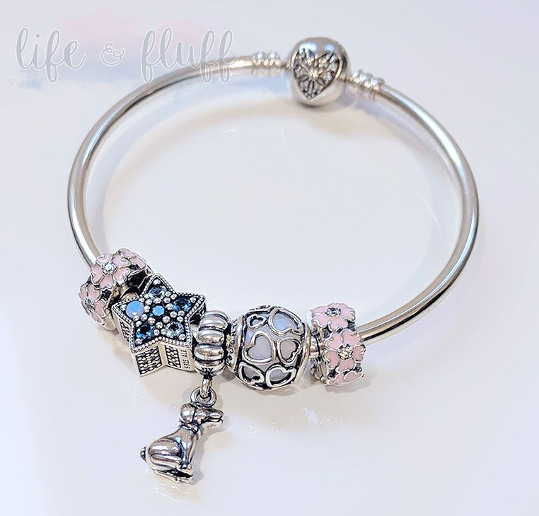 b2599ace8 PANDORA Charm Bracelet Bangle with Pink Primrose Clip, Bright Star Charm,  Buddy, Encased in Love charms. Silver Jewelry.