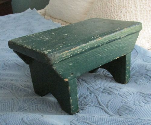 Small Vintage Wooden Footstool In Old Green Paint Sold