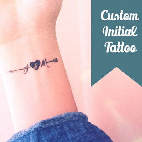 Set Of 4 Custom Tattoo Small Initial Arrow Wedding