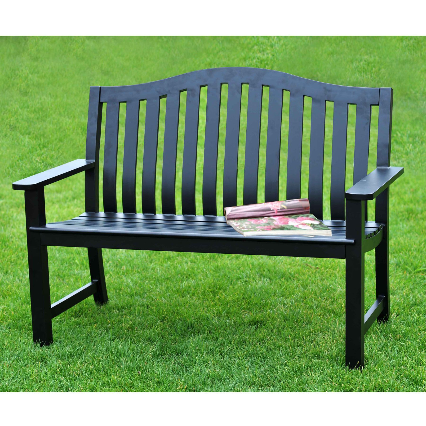 Sunjoy Smith Black Bench Outdoor Living Patio 640 x 480
