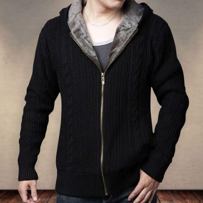 Sumen Men Autumn Winter Trend Solid Color Long Hooded Jacket Coats