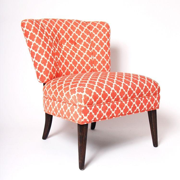 Coral Trellis Pattern Slipper Chair A Beautiful