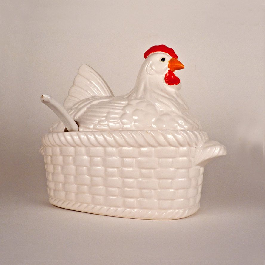 Vintage Chicken Soup Tureen with Lid Ladle Ceramic Basket Bowl ...