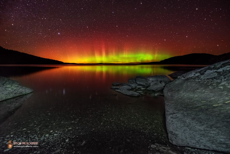 Astrophotographer Mike Taylor sent SPACE.com this photo showing an aurora at Moosehead Lake, Maine. Taylor took the photo on Oct. 10, 2013 at 1:22 a.m. using a Nikon D600 camera and 14-24 mm at 14, f/2.8, 30 seconds, ISO 2500. The photo was processed through Lightroom 4 and Photoshop CS5.