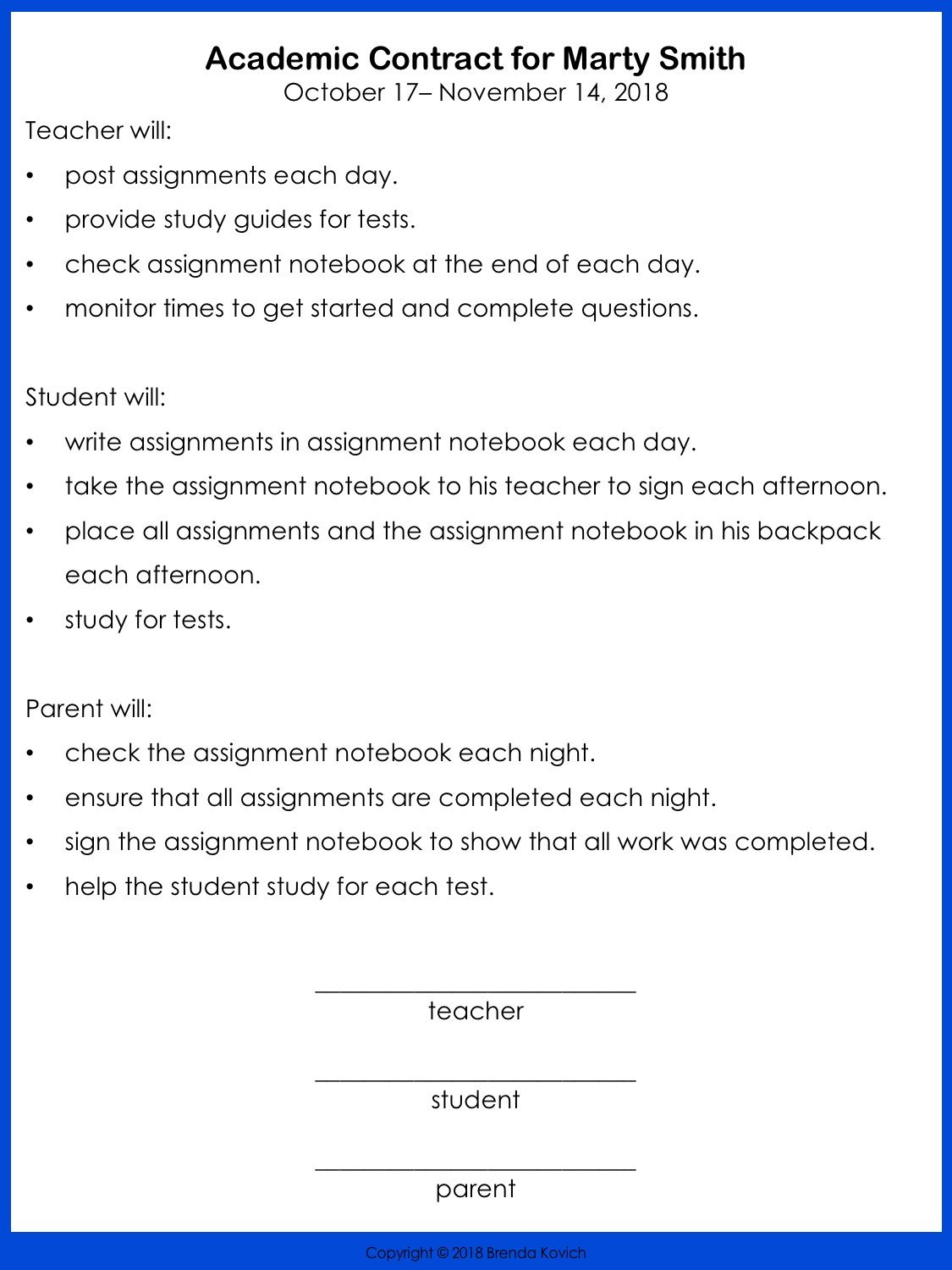 6 Steps To Creating Behavior Contracts For Challenging Students Behavior Contract Student Behavior Contract Classroom Behavior