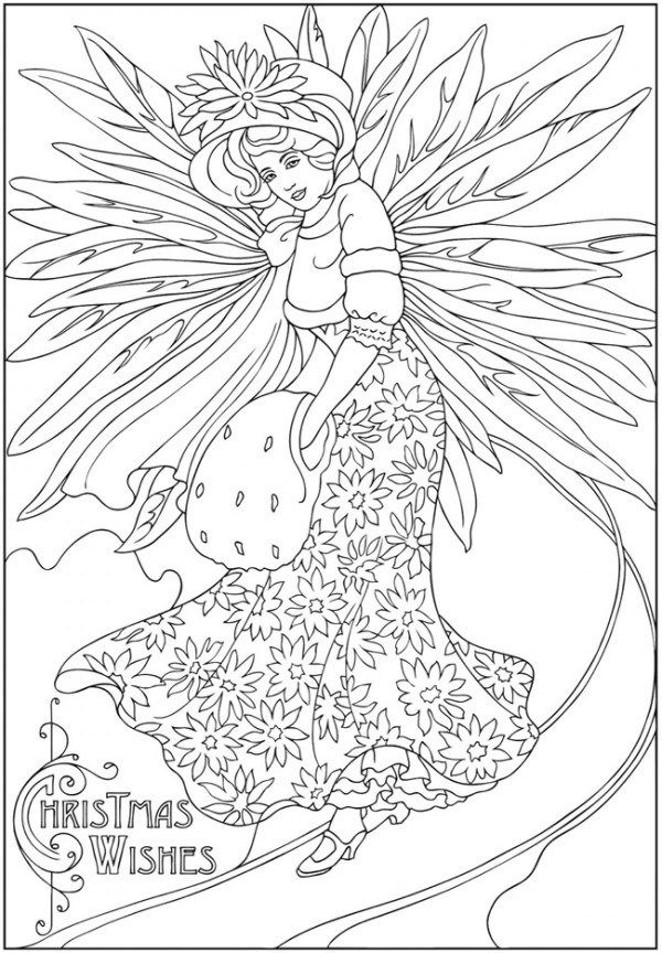 Freebie Winter Fairy Image Christmas Coloring Books Creative Haven Coloring Books Christmas Coloring Pages