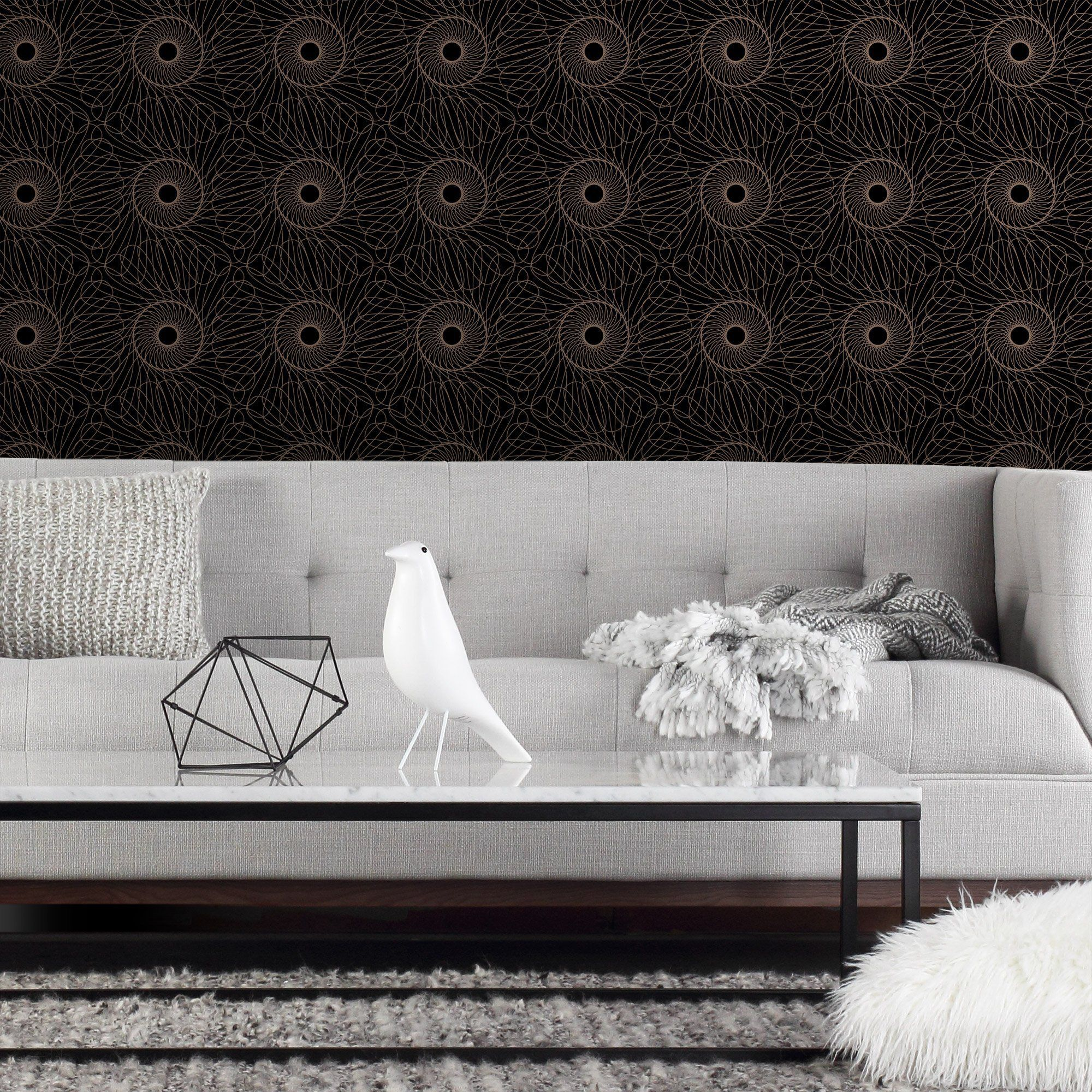 Upgrade Your Walls With This Bold Graphic Wallpaper Rhythm Is Classic Yet Modern And Rhythmic Ou Wallpaper White Throw Pillows Sherwin Williams Paint Colors
