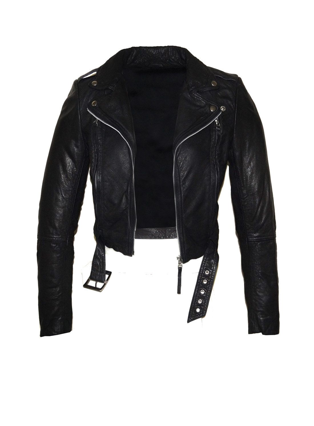 80361212d Hand Made Short Cropped Bubble Leather Motorcycle Biker Women Jacket with  Leather Belt by aarna101 on Etsy