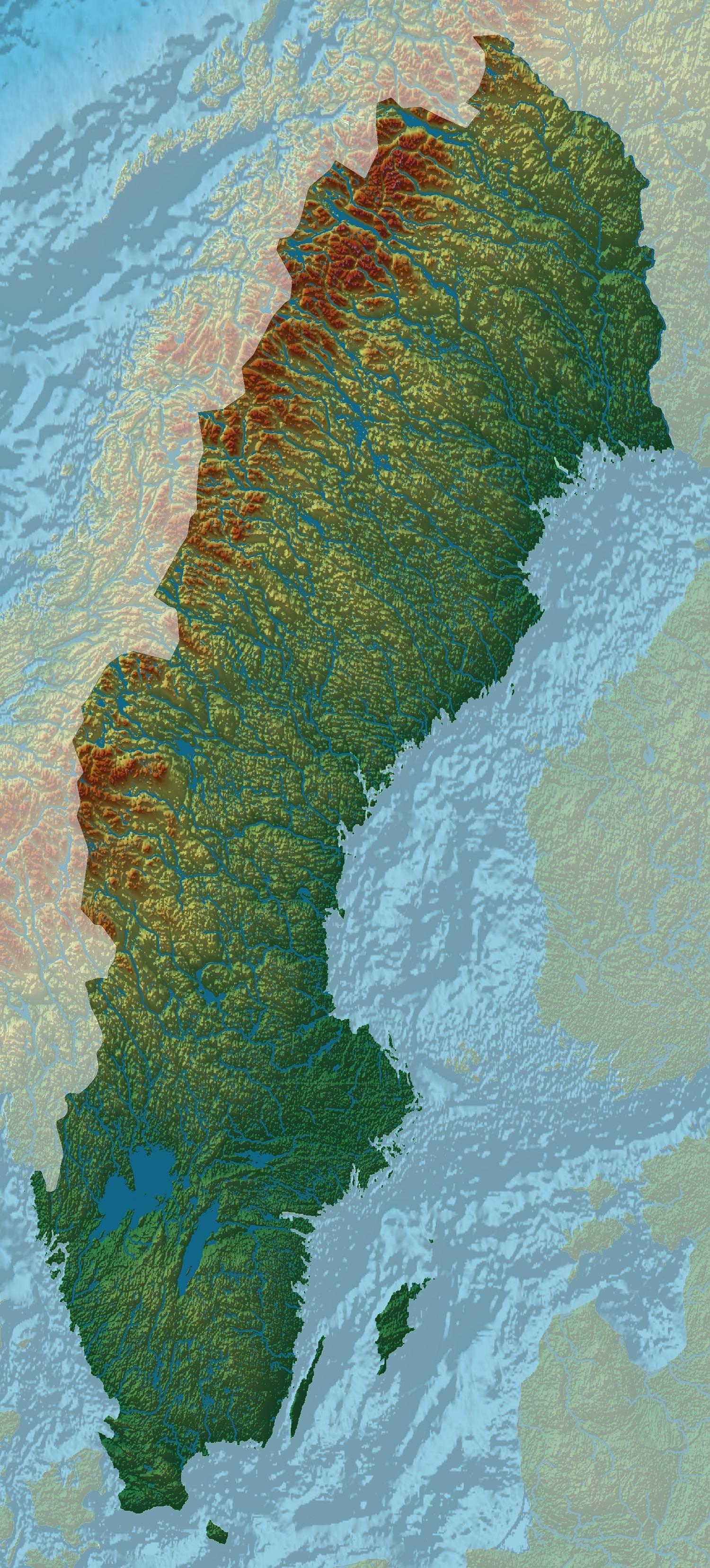Sweden relief map Sweden relief map
