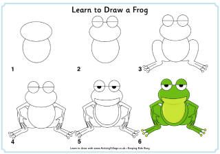 how to draw frogs and the pond step by step | Step by step ...