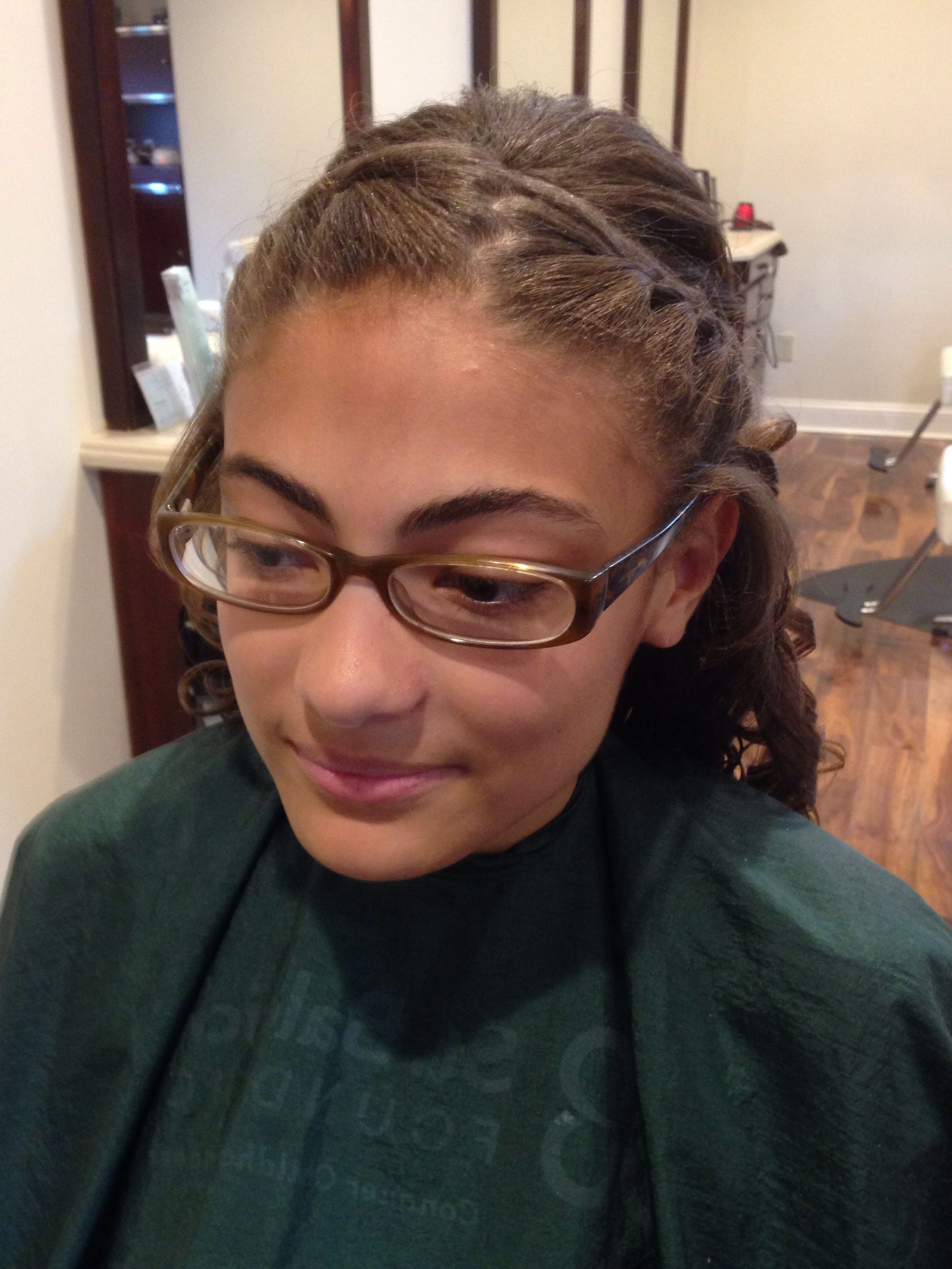 Up do for eighth grade dinner dance braid and curls hair done by