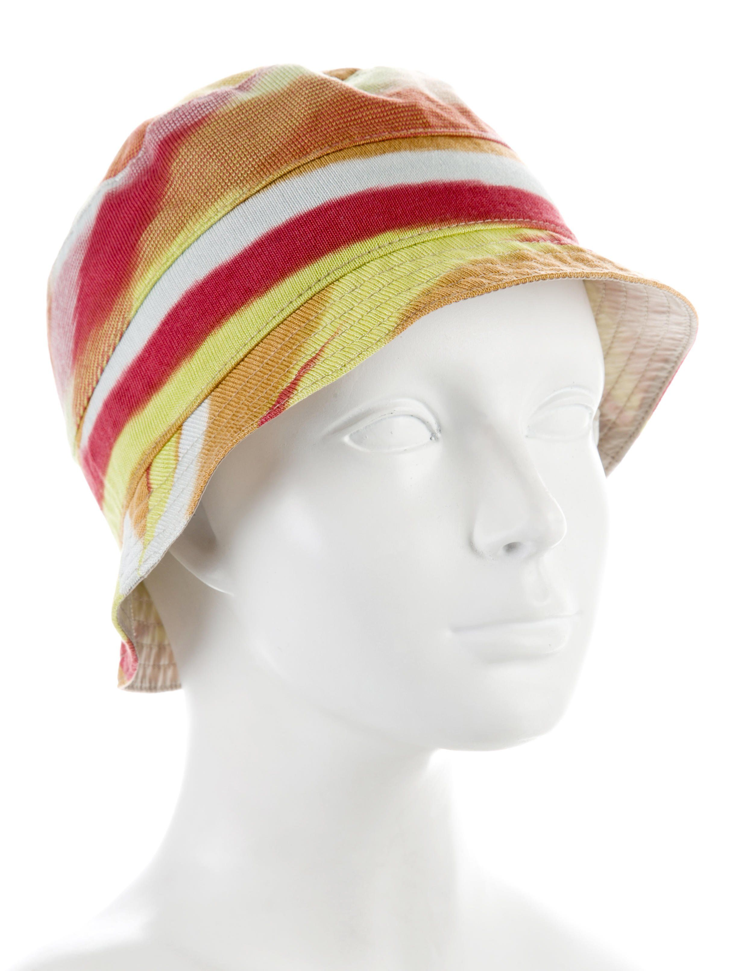 Yellow and multicolor Missoni bucket hat with striped pattern throughout.  Designer size L. 4403aa15005