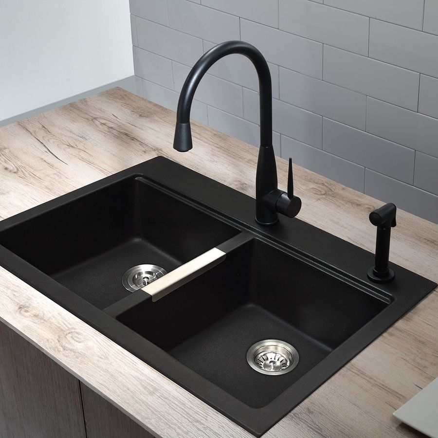 Shop Kraus Kitchen Sink  In X  In Black Onyx Double Basin Granite Drop In Or Undermount  Hole Residential Kitchen Sink All In One Kit At Lowes Com