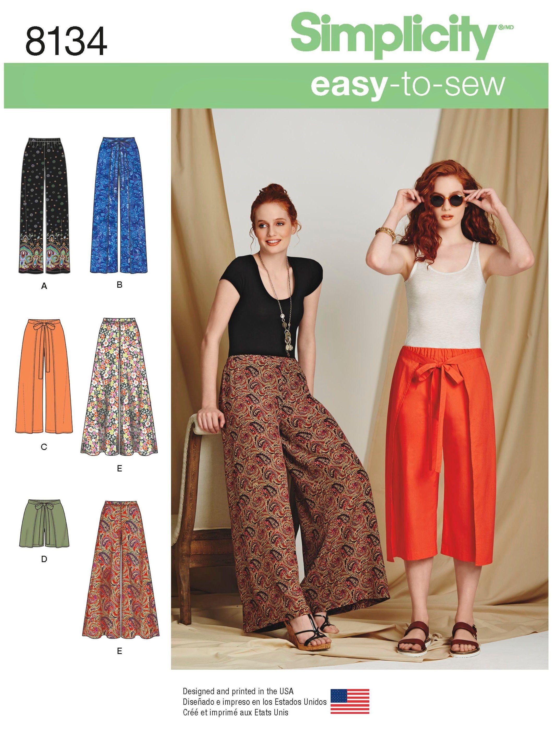Sewing Pattern Palazoo Pants Pattern, Easy to Sew Wrap Pants Pattern